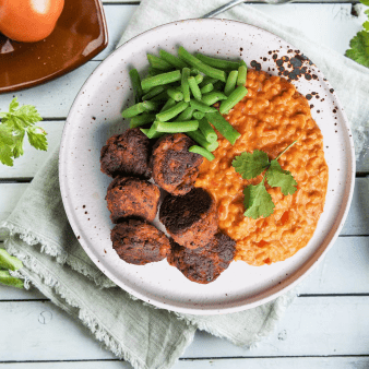 Seitan Boller med Curry Linsegryte